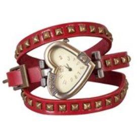 #horloge #stoer #leer #omslag #band #rood #studs #dubbele #hartvormige #wijzerplaat Stoere leren horloge met bandje met dubbele omslag, voorzien van studs en een hartvormige wijzerplaat. www.damestic.nl / www.facebook.com/DamesTic