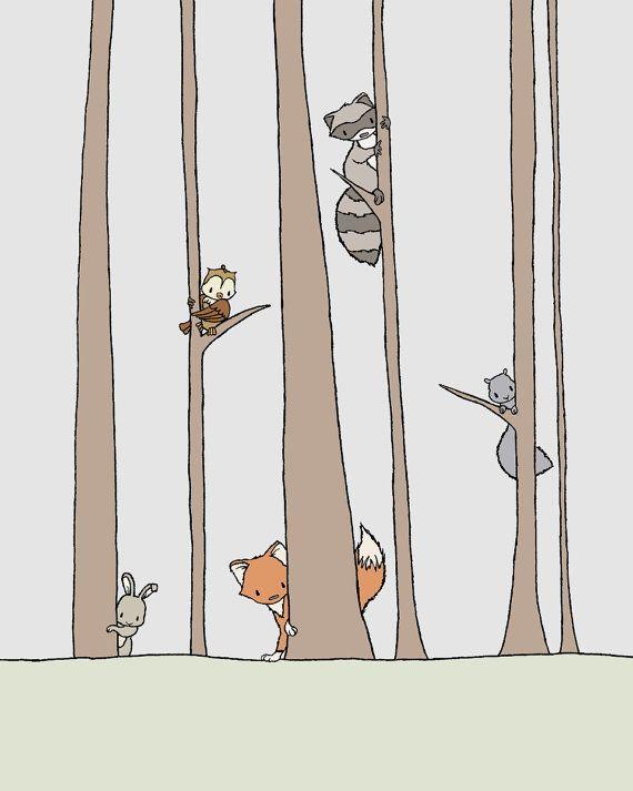 Woodland Nursery Art -   Peek A Boo -  by SweetMelodyDesigns