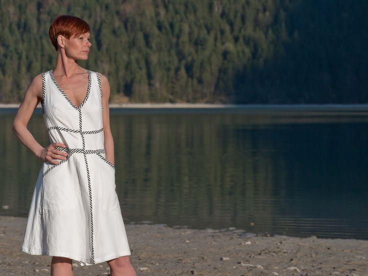 Kleid, Sommerkleid Weiß, Boho Kleid, Festival Kleid, Weiße Boho Kleid, Blusen Kleid, Baumwolle, Knielanges Kleid, Lange Weste von RoteTulpe auf Etsy
