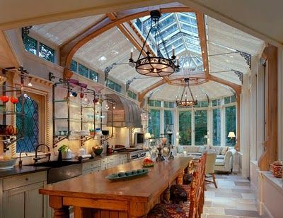 This isn't your ordinary kitchen space! Lots of natural light, as if your outside. Great dream home idea, especially if you have an amazing view outside