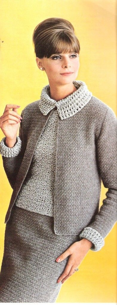 You are ordering a pattern for this Crochet Suit with Matching Blouse. Suit features open jacket, pencil skirt and crochet blouse with over laying collar