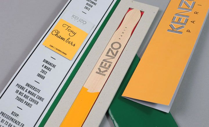 Kenzo's cheerful invitation pack, complete with a yellow-tipped paint stirrer, set Paris Fashion Week off to a colourful start