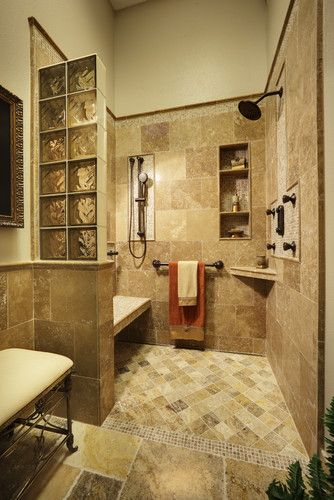 i 39 m liking the walk in shower without the pain of shower doors or a shower curtain to mess with. Black Bedroom Furniture Sets. Home Design Ideas