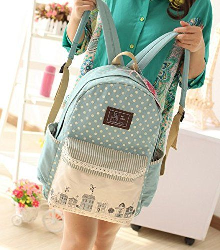 Samaz 2015 Girls Sweet Lace Dots School Bags Cute Backpack for Teen Girls Laptop Computer Bags (Green Sreetscape)