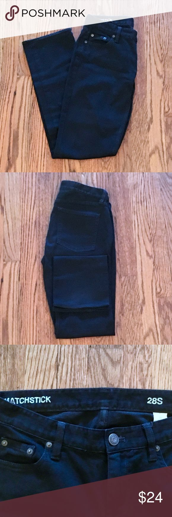 """J. CREW Black Matchstick Jeans CROSS TREND FIT!  Straight without being tight, these J. Crew Matchstick jeans bridge the gap between the skinny/baggy trend.   DETAILS  •Black •98% Cotton, 2% Elasthanne •Subtle stretch •Mid rise •Straight hips-ankles  CONDITION  •Very good •Rarely worn •Dry cleaned only •No fading, fraying, stretching, flaws •Smoke free home  FLAT MEASUREMENTS  SIZE: 28S WAIST: 15"""" HIPS: 16.5"""" LENGTH: 37.5"""" INSEAM: 28.5""""  Tags: Comfortable; Flattering; Transitional…"""