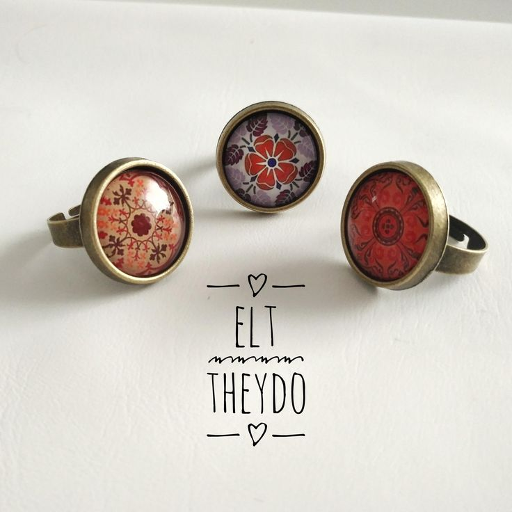Mandala rings, Adjustable rings cabochon photoglass cabochon di ELTStore su Etsy
