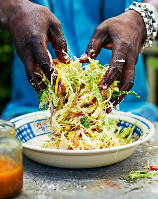 Hot and Fruity Caribbean Coleslaw - Sub in honey or molasses for the sugar, maybe even a fruity molasses?
