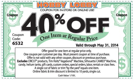 Pinned May 27th: 40% off a single item at Hobby #Lobby, or online via promo code 6532 #coupon via The #Coupons App