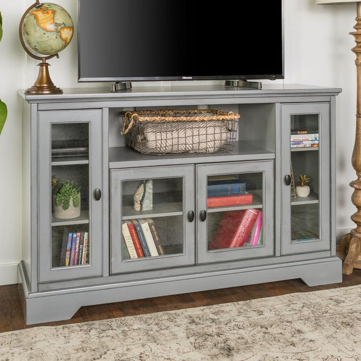 Walker Edison Furniture Company 58 In White And Rustic Oak Composite Tv Console 64 In With Doors Hd58s In 2020 Walker Edison Furniture Company Tv Stand Wood Tv Stand
