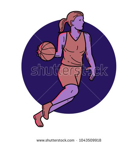 Mono line illustration of woman or female basketball player dribbling ball looking to pass viewed from side set inside circle  done in monoline style.  #basketball #monoline #illustration