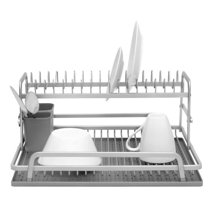 Ta Da 2 Tier Aluminum Dish Rack With Silicone Self Draining Mat In
