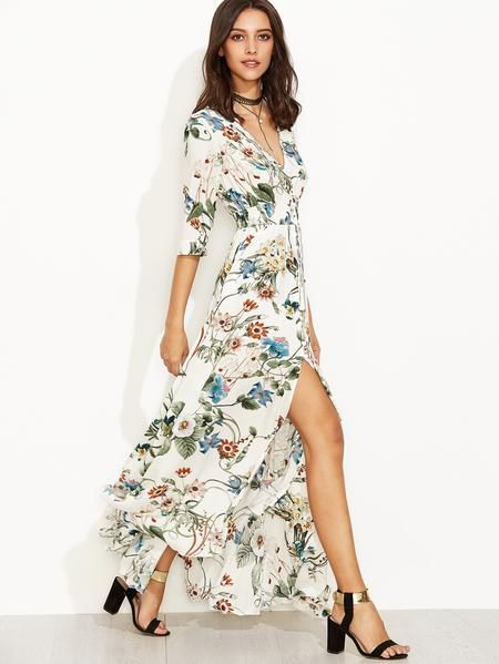 1c286bd0d2a1f Multicolor Floral Print 3/4 Sleeve Drawstring Button Dress | Summer ...