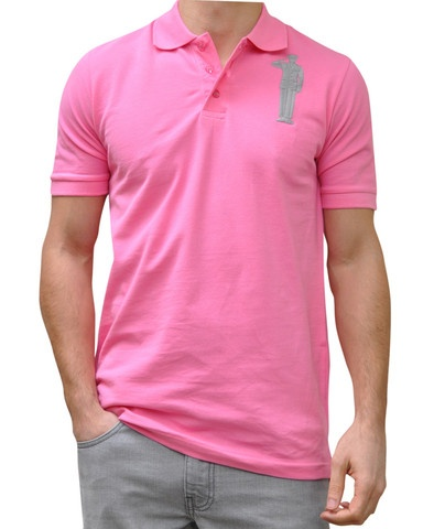Pink Polo. 100% Organic Cotton. 3 button placket. Bold Embroidery Front & Back.  Model 6' ft, waist 31 wearing Small Bold Polo. Order online: http://www.el-capitano.com/collections/polos/products/pink