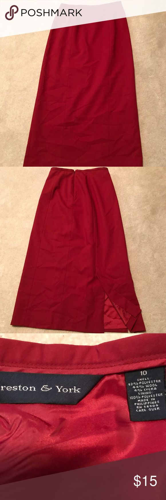 "Women's Preston & York long skirt size 10 Women's, Preston & York , long skirt, size 10. Shell 52% polyester, 44% wool, 4% lycra. Lining 100% polyester. Slit and zipper in back. Waist to bottom measured 35"". Dry Clean Only Preston&York Skirts Maxi"