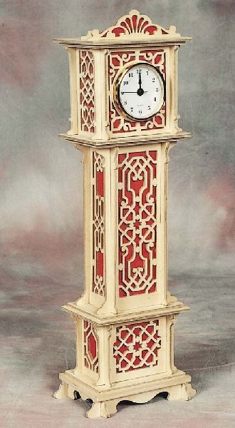 Miniature Grandfather Clock Plan | Hobbies This is a beautiful Hobbies fretwork design, first published in 1925. Materials needed:- plywood sheets (2 x PLY2 and 1 x PLY4), 1 x red flock paper WPF2