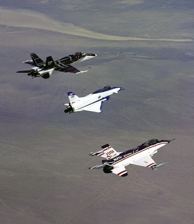 Three Thrust Vectoring Aircraft in Formation - NASA's F-18 High Alpha Research Vehicle (HARV), the X-31, and the Air Force F-16 Multi-Axis Thrust Vectoring (MATV) aircraft. : WeirdWings