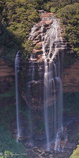 WENTWORTH FALLS. Could only see the top of these falls before the water plunged over the cliff at Wentworth Falls and Jamison lookouts. Do the short walk with many steps to Princes Rock lookout to see the falls.