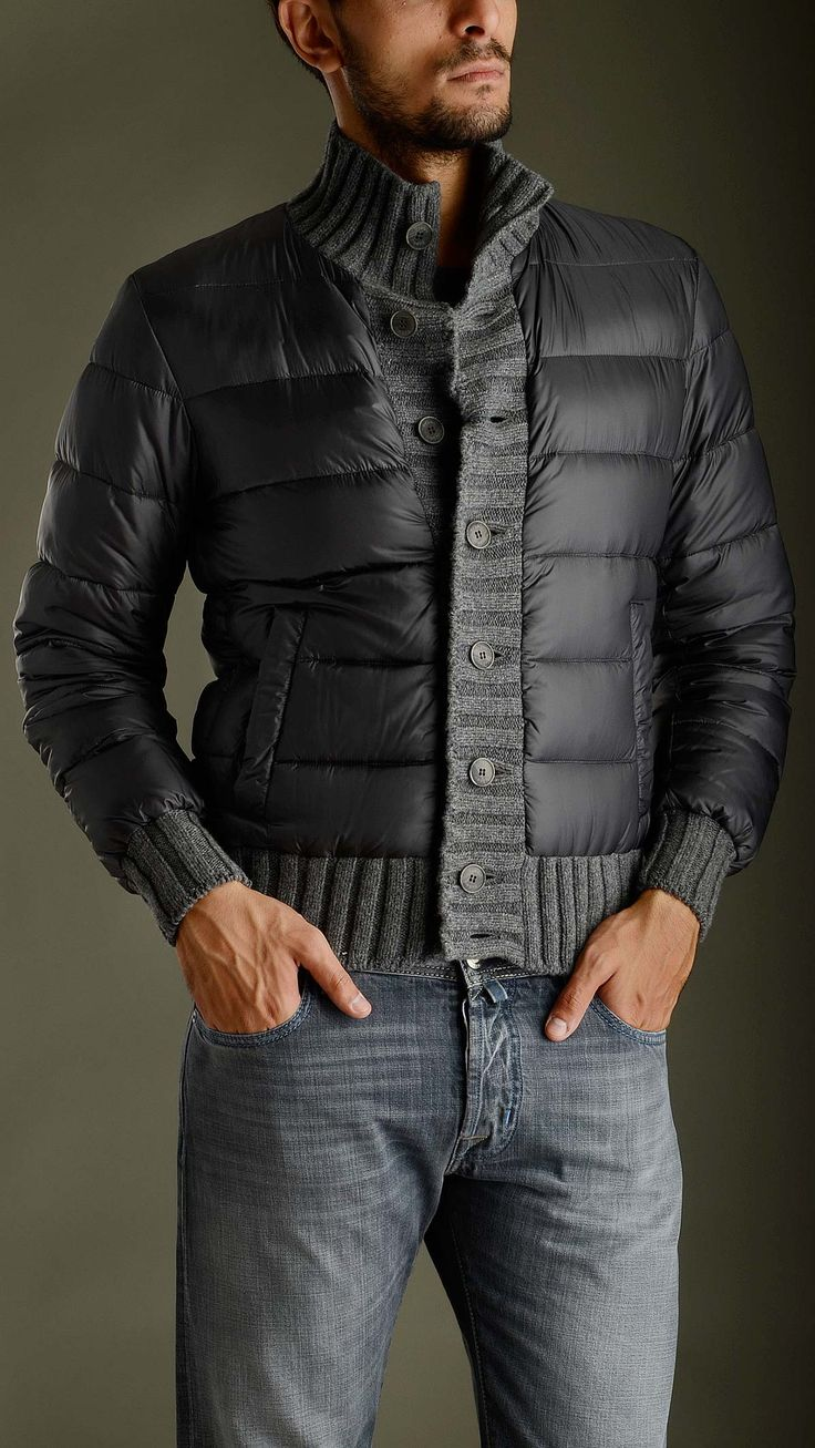 Knitted detail neck, cuffs and placket dark grey down jacket featuring button fastening, hoodless, horizontal quilted, turtleneck, two seam pockets at front, regular fit, outside: 95% polyamide 5% polyurethane, lining: 100% polyamide, padding: 95% goose down 5% feather.