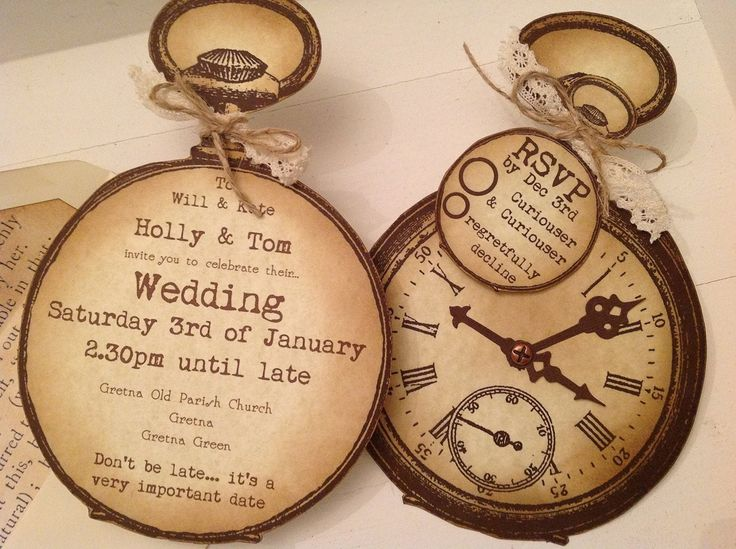 Alice in Wonderland / Steampunk Vintage Style Shabby Chic Party / Wedding / Christening Invitations by K9 Aroma | K9Aroma