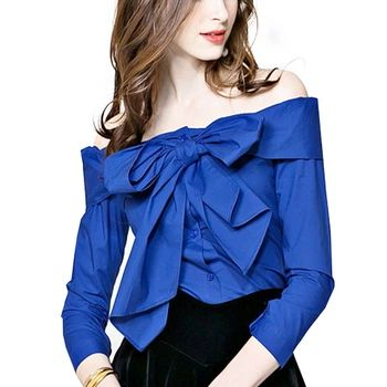 Elegante arco azul del hombro OL blusa de las mujeres camisas de verano las mujeres del estilo sexy raya vertical del cuello de la vendimia tops blusas WE354