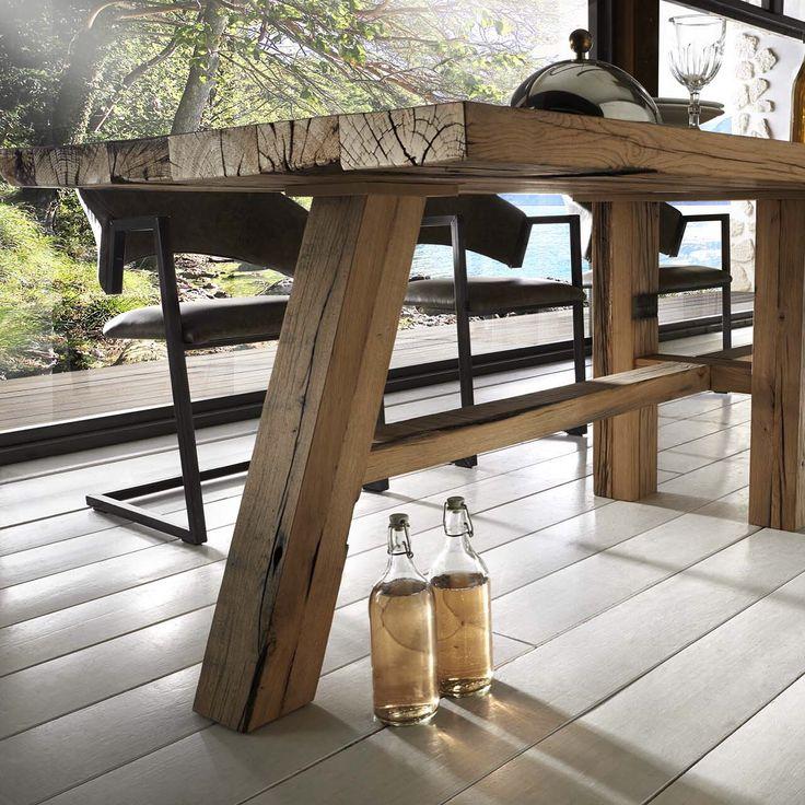 Fancy Waggon Esstisch Eiche massiv Altholz Platte cm dicke Planken