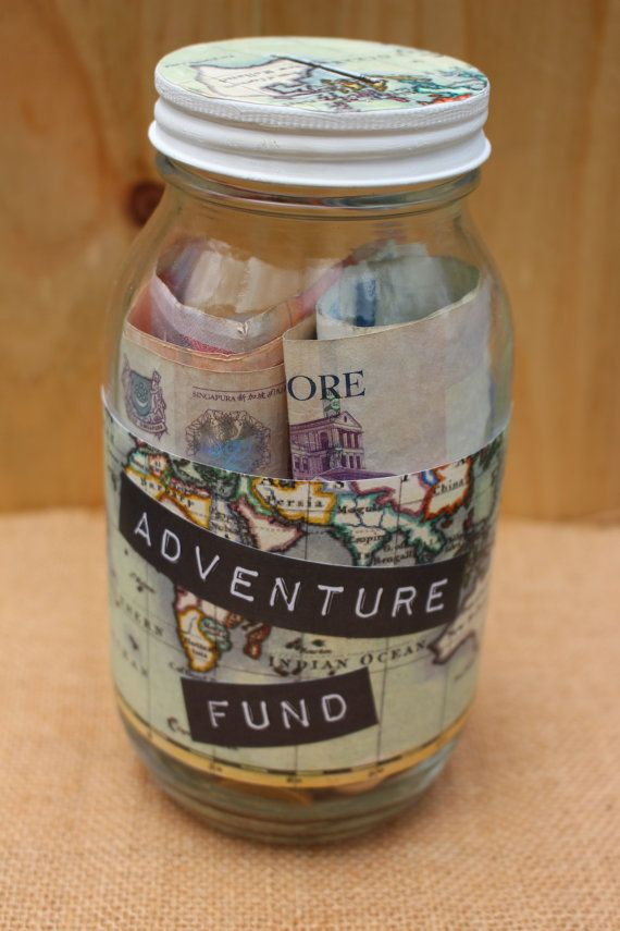 Glass adventure fund piggy bank to save for travel unique for Cute money saving jars