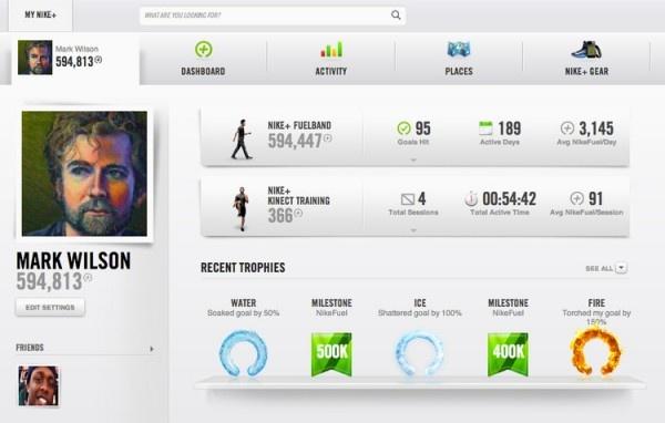 Ik weet niet of het aantal drop shadows in Nike+'s design positief of negatief is.