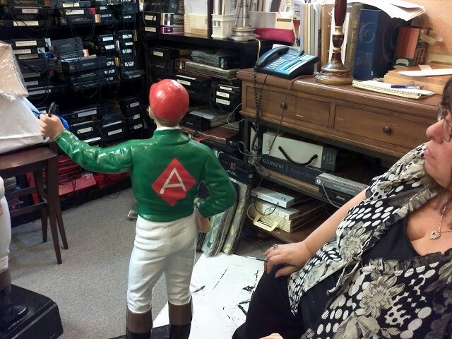 Painting jockey at Saratoga Signature