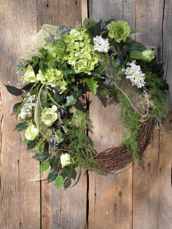 Spring Wreath Cottage Wreath Front Door Wreath by KathysWreathShop, $94.99