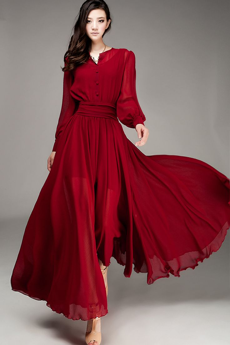 Nueva llegada del verano 2014 de la gasa de la alta calidad del vestido lleno , estilo de manga linterna estilo de la pista de expansión inferior Vestido Largo en Vestidos de Moda y Complementos en AliExpress.com | Alibaba Group