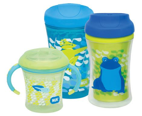 Nuk Sippy Cup designs featuring fireworks and frogs
