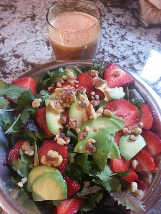 Strawberry, cilantro, avacado salad and apple, carrot, cucumber ...
