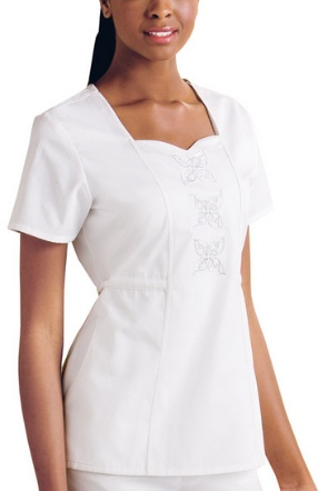 Very feminine, fitted, cute scrubs top! Sweetheart neck