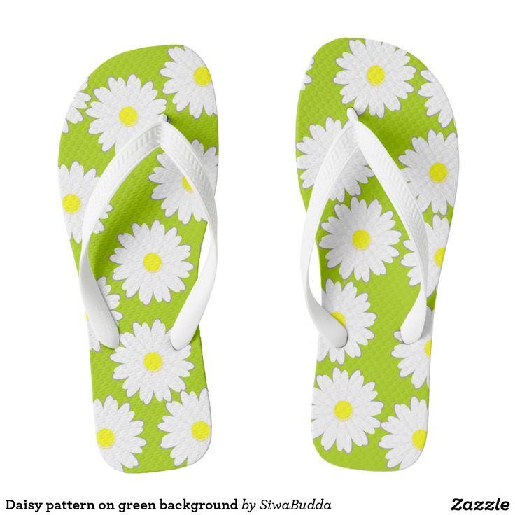 Daisy pattern on green background flip flops