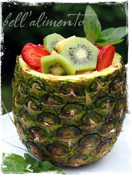 1 pineapple  1 banana - sliced  2 kiwi - peeled, sliced  6 large strawberries - sliced  2 tablespoons raw sugar  1 ounce of Cointreau Liquor  juice of half lemon  1 sprig fresh mint
