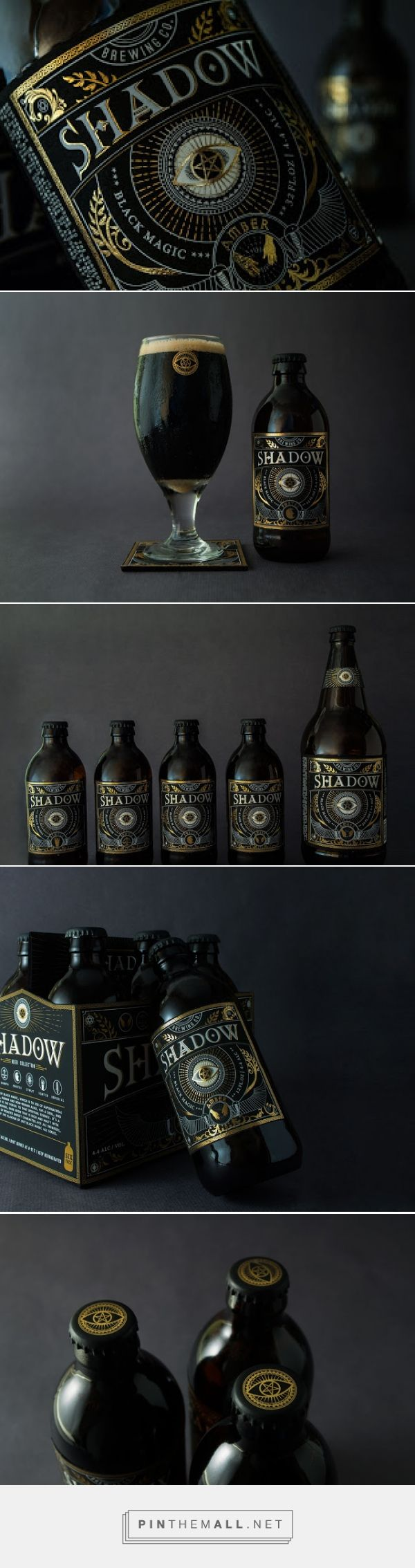 """Shadow is inspired by """"black magic"""", which symbolizes the supernatural powers that cannot be seen with naked eyes. The eye logo is the portal to that spiritual essence. In the six pack of Shadow, each bottle has a different taste indicating a """"different personality"""", and they are represented on the labels as witches hands, scale, sword, moon, sun and fire. The overall style is dark and mysterious."""