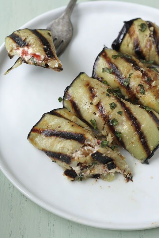 Eggplant Rolls With Goat Cheese and Roasted Red Peppers.