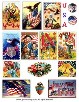 Download Digital Collage Sheet Patriotic 4th of July #USA Vintage Independence Day Images #Etsy