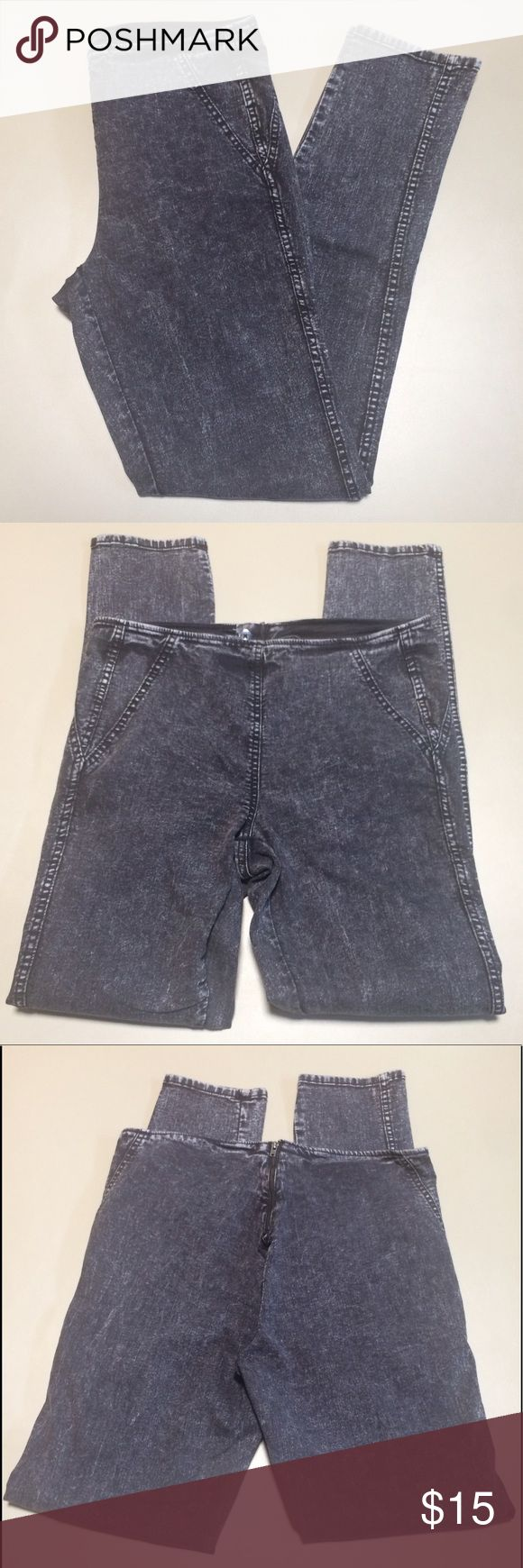 H&M high waisted denim H&M - DIVIDE: high waisted, acid wash denim pant in black. Back zip closure. Size 12. Brand new with tags attached. H&M Jeans Skinny