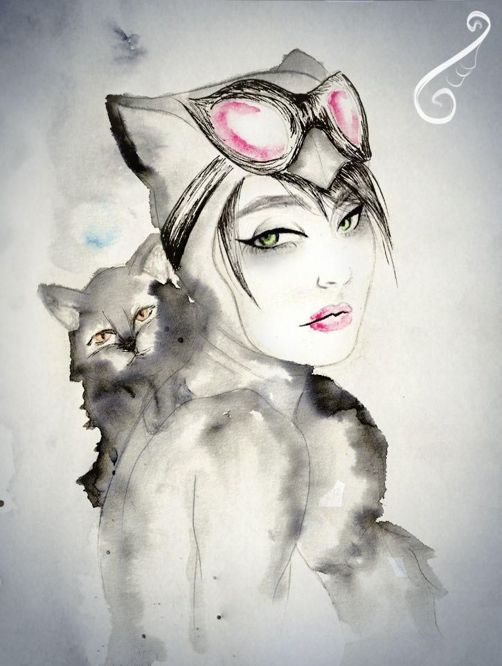 Картинки красивые девушки нарисованные с кошкой, для мамы