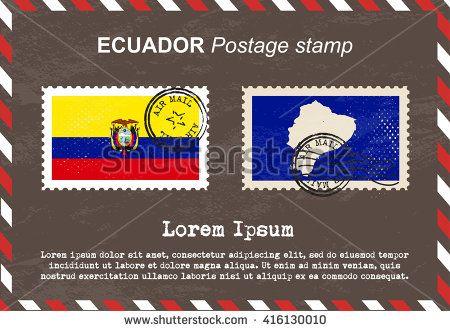 Ecuador postage stamp, postage stamp, vintage stamp, air mail envelope.