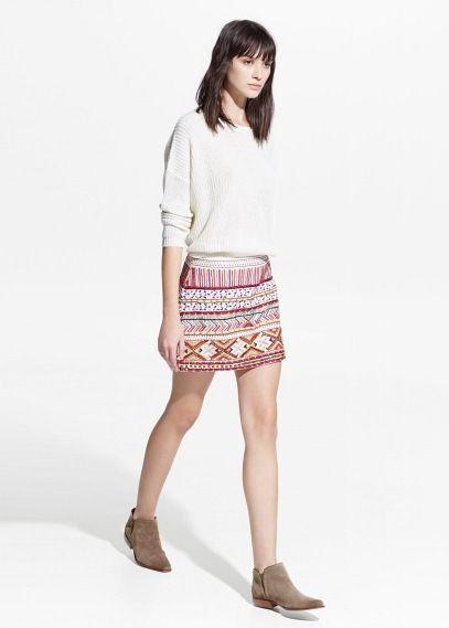 Minifalda étnica abalorios
