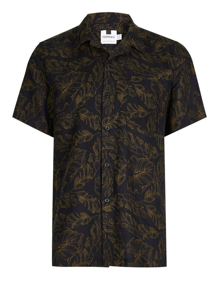 Chemise décontractée noire à manches courtes avec imprimé feuille façon banana - Chemises Homme - Vêtements - TOPMAN FRANCE