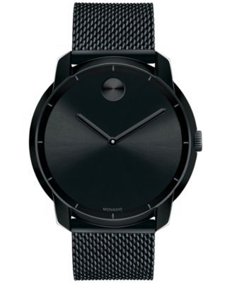 Movado Unisex Swiss Bold Black Ion-Plated Stainless Steel Mesh Bracelet Watch 44mm 3600261