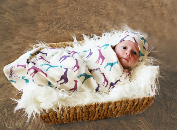 Organic Giraffe Blanket for Baby Girl  In Purple by GrowingUpWild, $45.00
