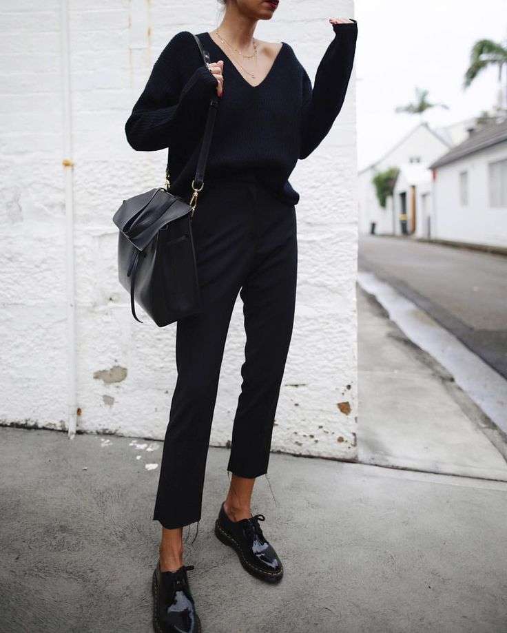 All black everything, Doc Martens, cropped jeans