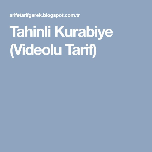 Tahinli Kurabiye (Videolu Tarif)