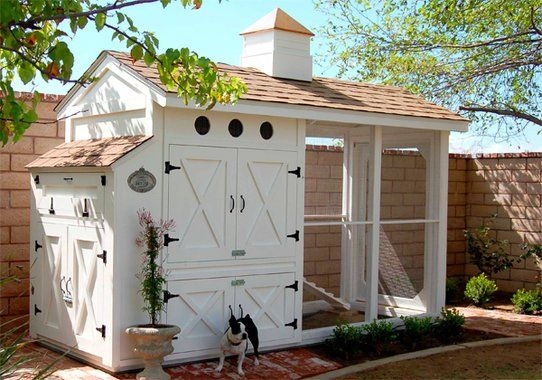 Im-peck-able good taste characterizes a simply fabulous coop that Martha Stewart might design. Because chickens are messy, Martha would choose an exterior-grade, acrylic latex paint with a washable, semi-gloss finish. The color? Eggshell white, of course.