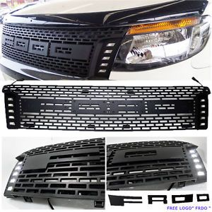 a fits ford ranger front grille drl led px wildtrak xl xlt full abs ute black usa