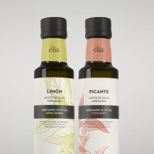 """Èlia Olive Oil Best Food Packaging Designed by Atipus    """"Èlia is a feminine name, from the Greek word """"ελιά"""" (olive). In accordance with its name, a subtle feminine touch has been given to both the brand (with the typographic game of the logotype) and the packaging itself. Èlia's first product is a selection of aromatic oils."""""""